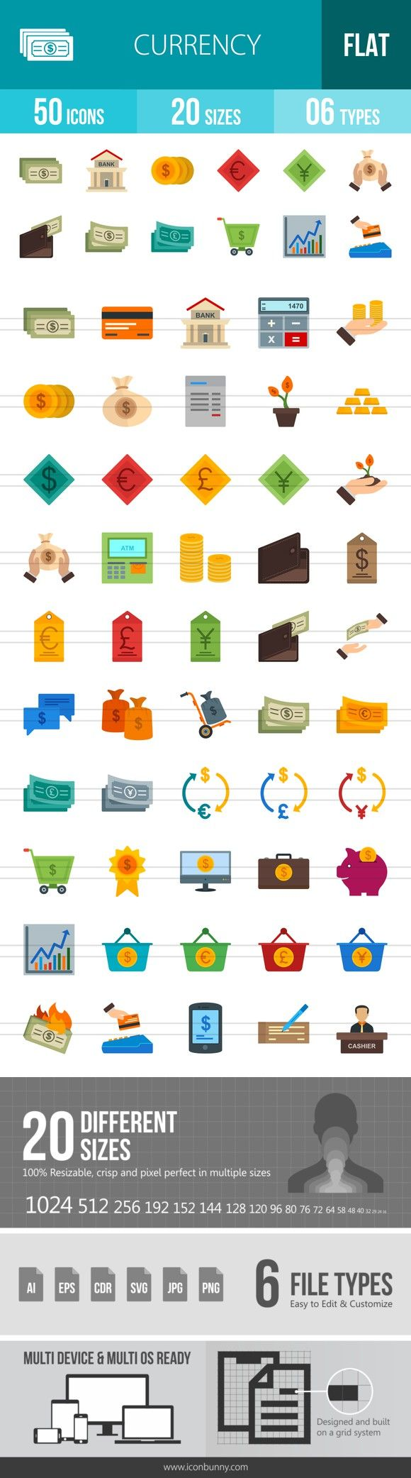 50 Currency Flat Multicolor Icons