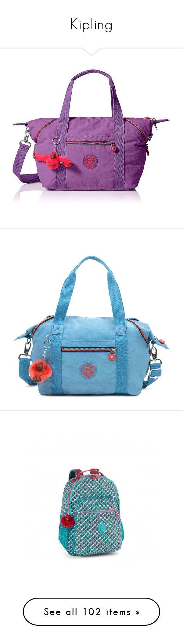 """Kipling"" by lorika-borika ❤ liked on Polyvore featuring bags, handbags, tote bags, purple tote, kipling purses, purple purse, purple tote bags, kipling handbags, blue grey and blue handbags"