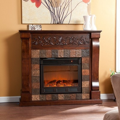St Lawrence Espresso Electric Fireplace Master Bedroom