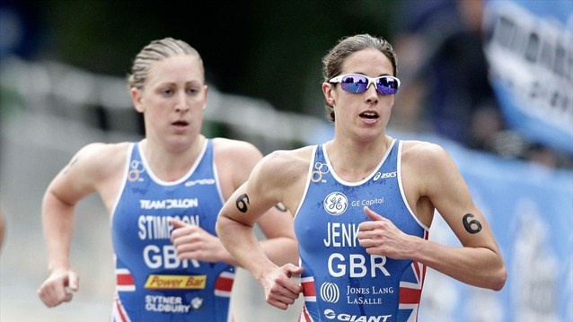 Go Team GB! Helen Jenkins (right) and Jodie Stimpson (left) running during the Women's Elite race.