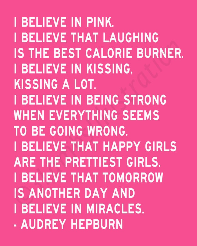 i believe in pink audrey hepburn quote quotes pinterest
