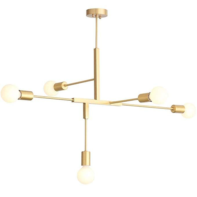 Luolax Modern Metal Gold Finish Chandelier Ceiling Pendant Lighting Fixture Hanging Lamp Flush Mount W Modern Pendant Light Ceiling Pendant Lights Pendant Lamp