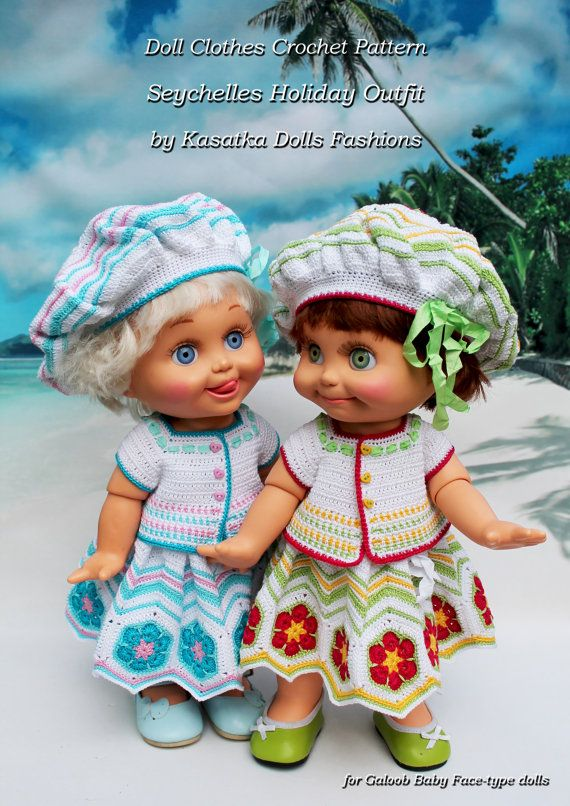 PDF Doll Clothes Crochet Pattern Seychelles Holiday for Galoob Baby Face-type dolls By Kasatka dolls fashion