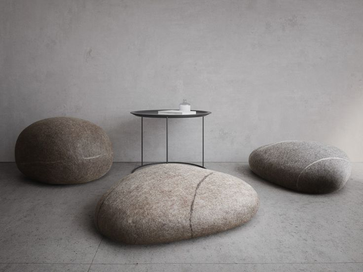 fivetimesone | seamless felted wool stone poufs, made 100% from natural Merino wool #triangle stone #granite #moderninterior #carefullycrafted #fivetimesone