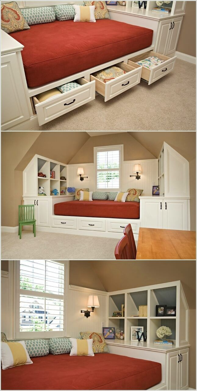 A Built-In Bed with Storage Drawers and Cubby Shelves