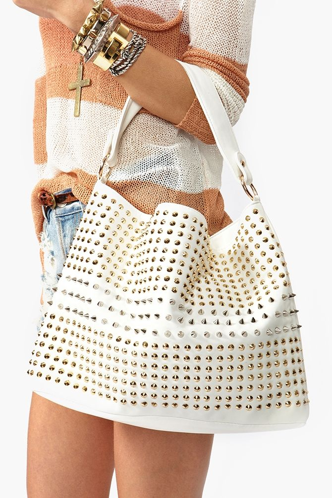 Totally Studded Bag - White