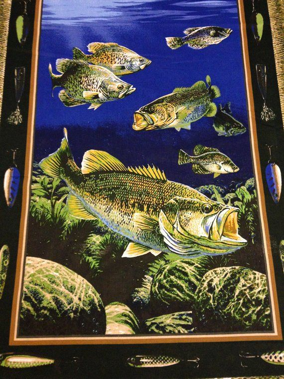 Fishing Trout Bass Fabric Pillow Panel Fisherman S Quilt Panel Approx 1 Yard Panel Fish Quilt Panel Quilts Quilts