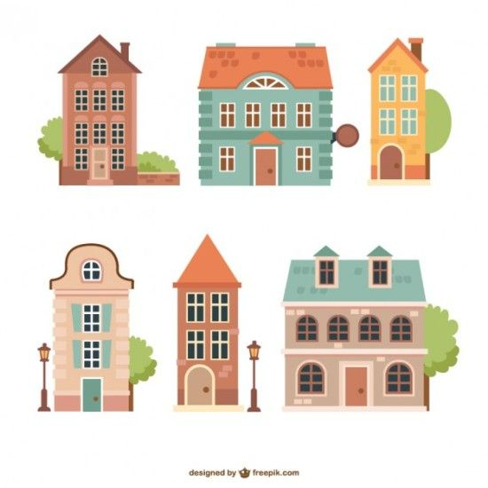 рисунки домов, фасады зданий, малоэтажные, двухэтажные дома,  рисунок в векторе,  AI