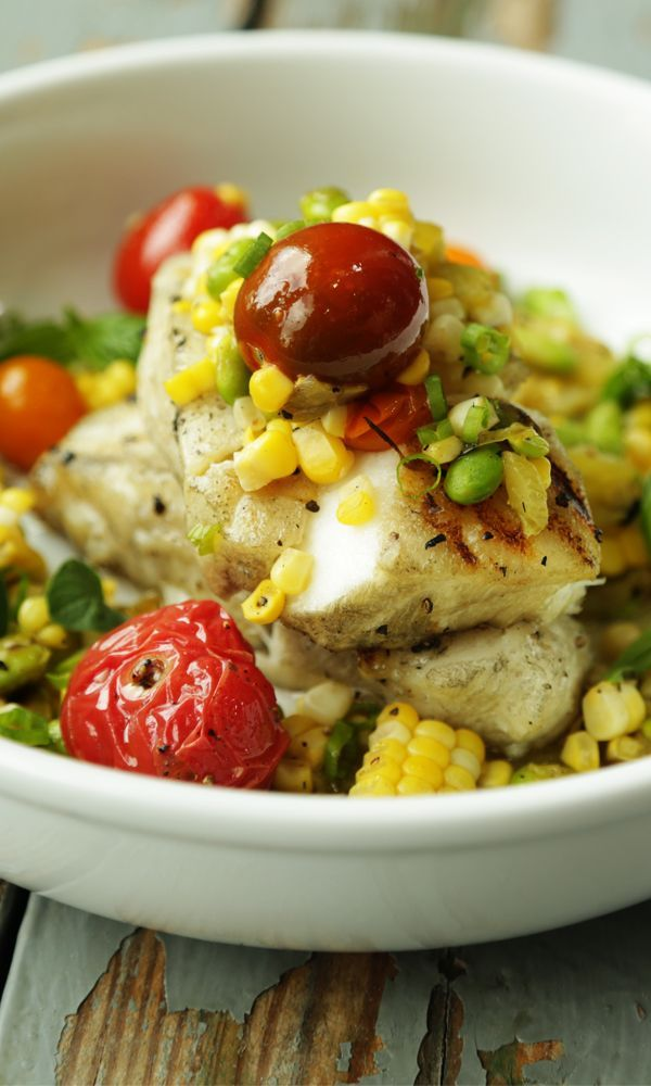 Grilled Chilean Sea Bass and Corn and Tomato Salsa Recipe with Roasted Hatch Chiles, Fresh Herbs and Edamame!