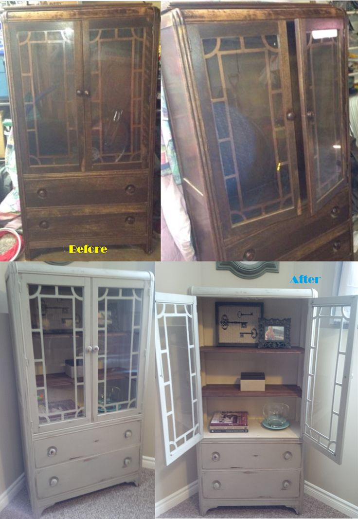 Before And After   Old Antique China Cabinet Refinished With Annie Sloan  Chalk Paint In French