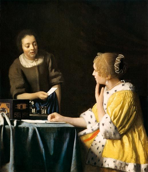 Jan Vermeer van Delft - Lady with her Maid holding a Letter