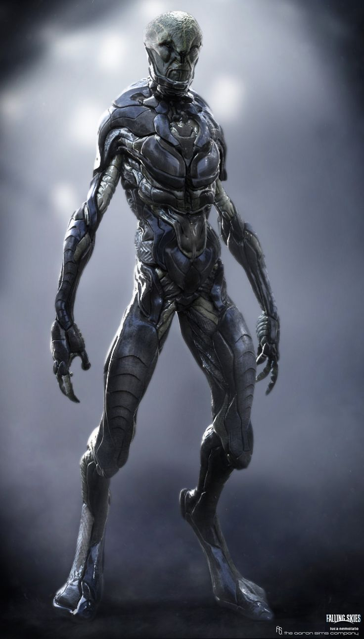 Falling Skies - Cochise Alien Suit V2, Luca Nemolato on ArtStation at https://www.artstation.com/artwork/falling-skies-cochise-alien-suit-v2