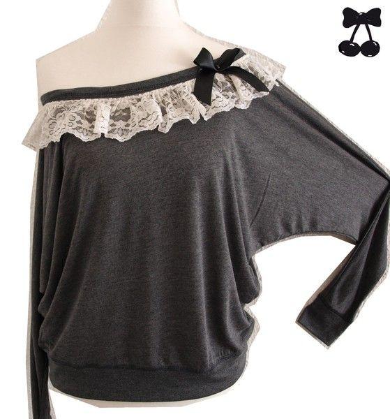 Fledermausärmelshirts - Vintage Boho Fledermaus Shirt Schulterfrei - ein Designerstück von b-c-design-factory bei DaWanda
