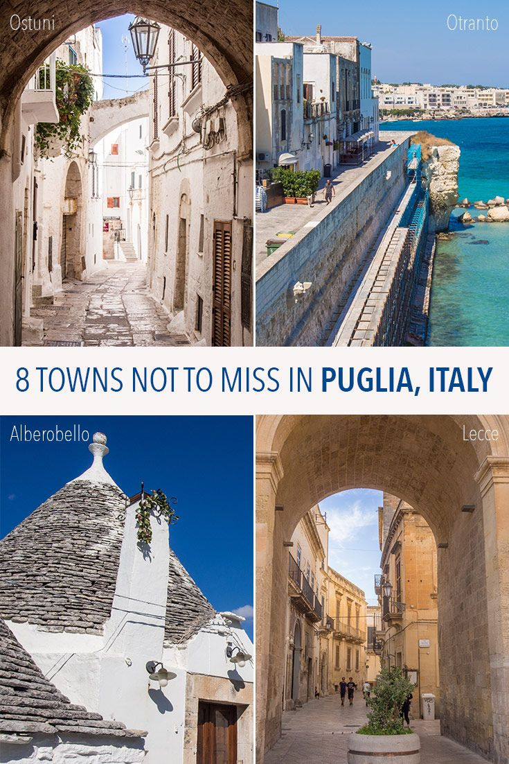 Puglia is one of the most beautiful regions of Italy. These 8 diverse Puglian towns are the highlights of the region including Ostuni, Alberobello, Bari, Lecce, Otranto and more. Click through to plan your trip to Puglia.