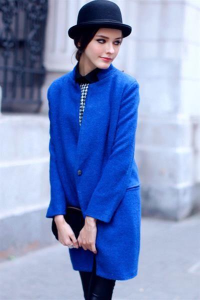С чем сочетается синее пальто