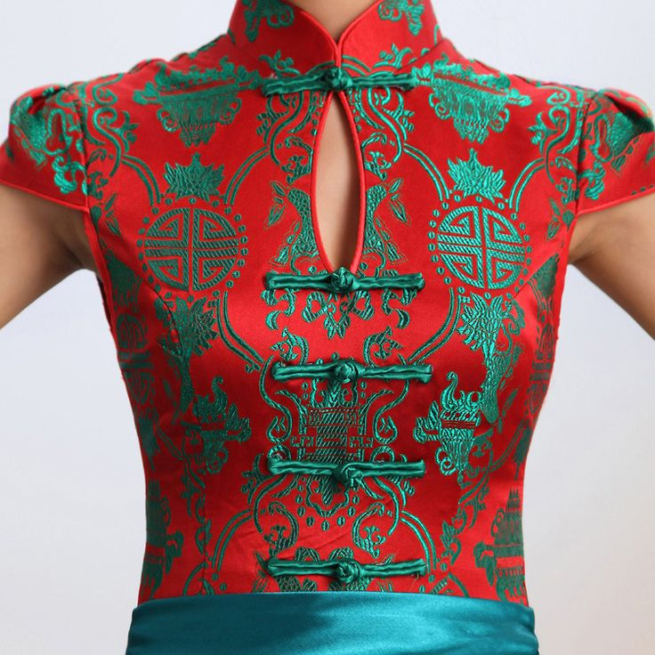 Green & red contrast color folk pattern brocade mandarin collar Chinese modern qipao cheongsam wedding dress | Red Chinese Dress