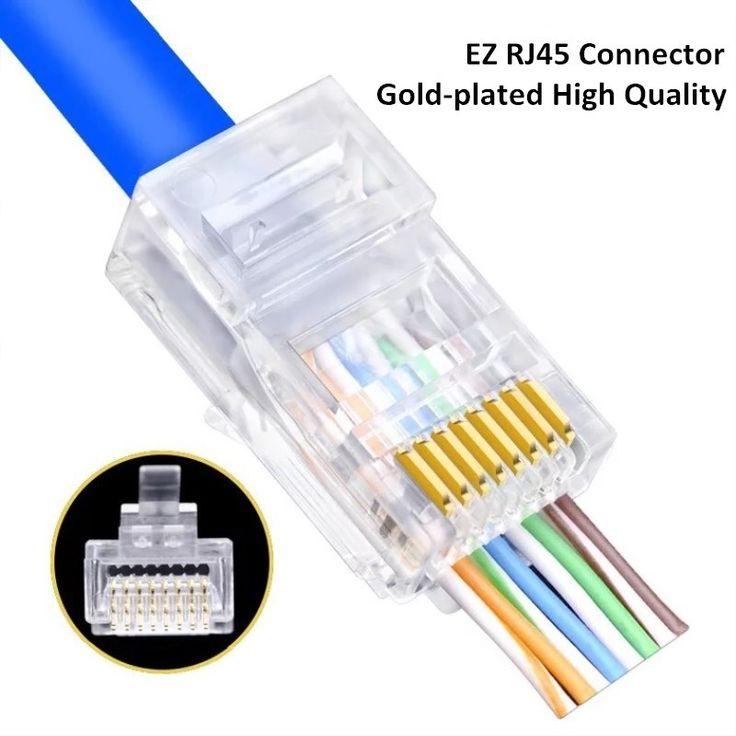 Ez Rj45 Connector Cat5e Cat6 Rj45 Ethernet Cable Plug Utp 8p8c Network Unshielded Terminal Easy Pass Connector For Cables Cable Plug Ethernet Cable Rj45