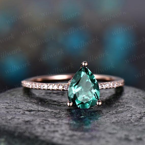 Natural Emerald Gemstone Silver promesse Bagues Pierre de naissance taille émeraude Handmade
