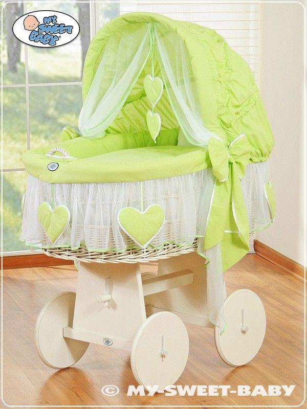 Culla vimini Cuori - Verde-Bianco - www.e-FunkyBaby.it #efunkybabyit #culla #vimini
