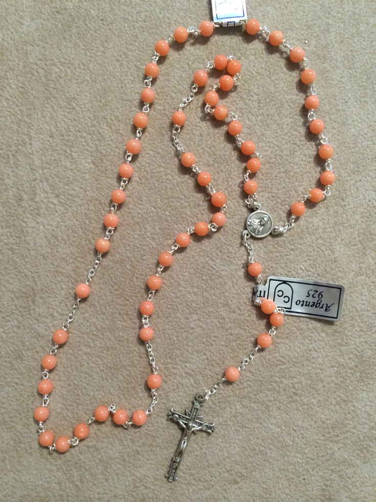 Rosary hand made in italy silver and coral available in our online shop