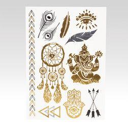 Metalické tetování Ganesha zlaté
