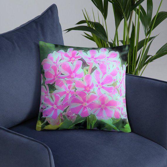 Pink Garden Phlox Wall Art Floral Throw Pillow Flower Photography Home Decor Hot Pink And White Hot Pink Pillows Floral Throw Pillows Decorative Throw Pillows