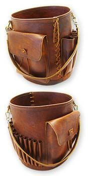 "Leather Knitting Basket $587.50 This leather lined knitting basket is 14"" x 12"" diameter and is something that will inspire and be handed down for countless generations #leather #basket #knitting www.renaissance-art.com"