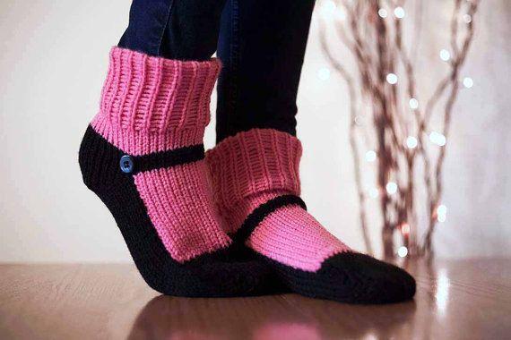 Knit Slipper Sock Adult Maryjane Slipper Sox por Nothingbutstring
