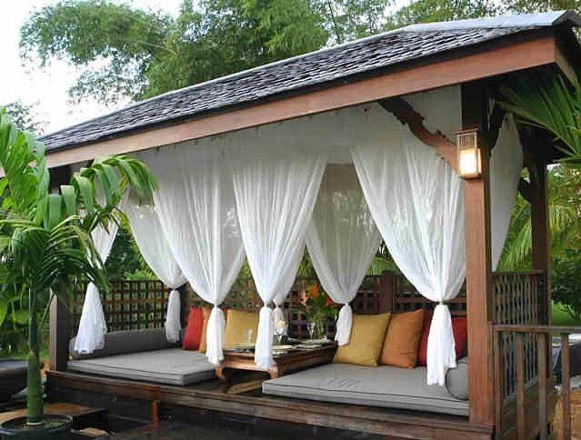 Kültéri, kerti terasz pergola függöny, árnyékolás  – ötletek a szabadban. 2016.