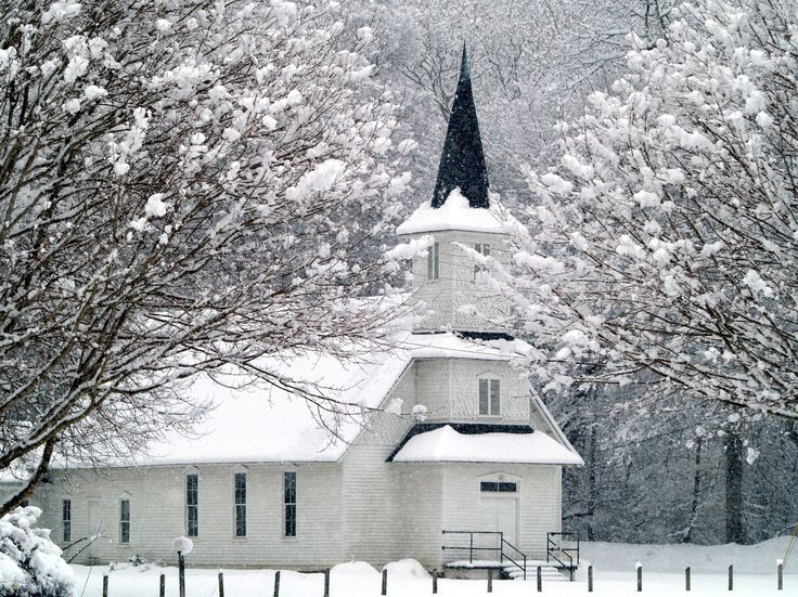 snowy church and xmas - photo #9