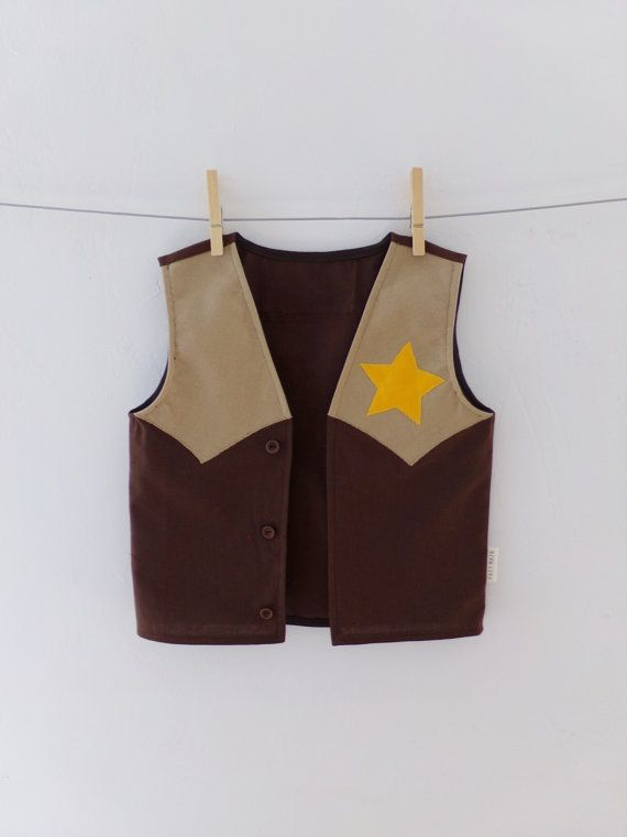 Kids Cowboy Vest Dress up Handmade 100% Cotton by TootsAndMe