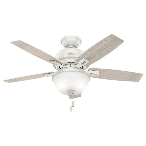 Hunter Fan Donegan Collection Fresh White/Light Grey 44 Inch 5 Reversible  Blades Ceiling