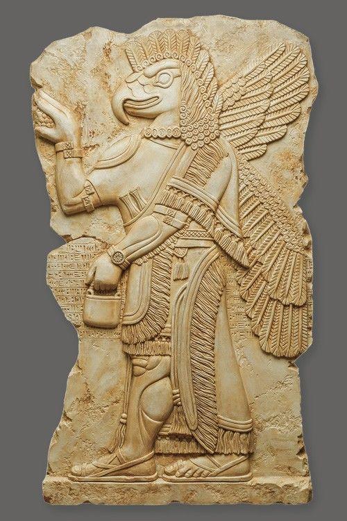 Assyrian eagle-headed god Nisroch basrelief art replica. Concrete Danzare.CASA design.