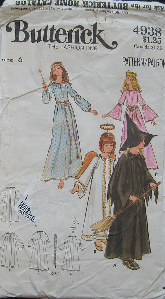 Vintage Butterick Halloween Costume Pattern Witch by TheHowlingHag, $6.95