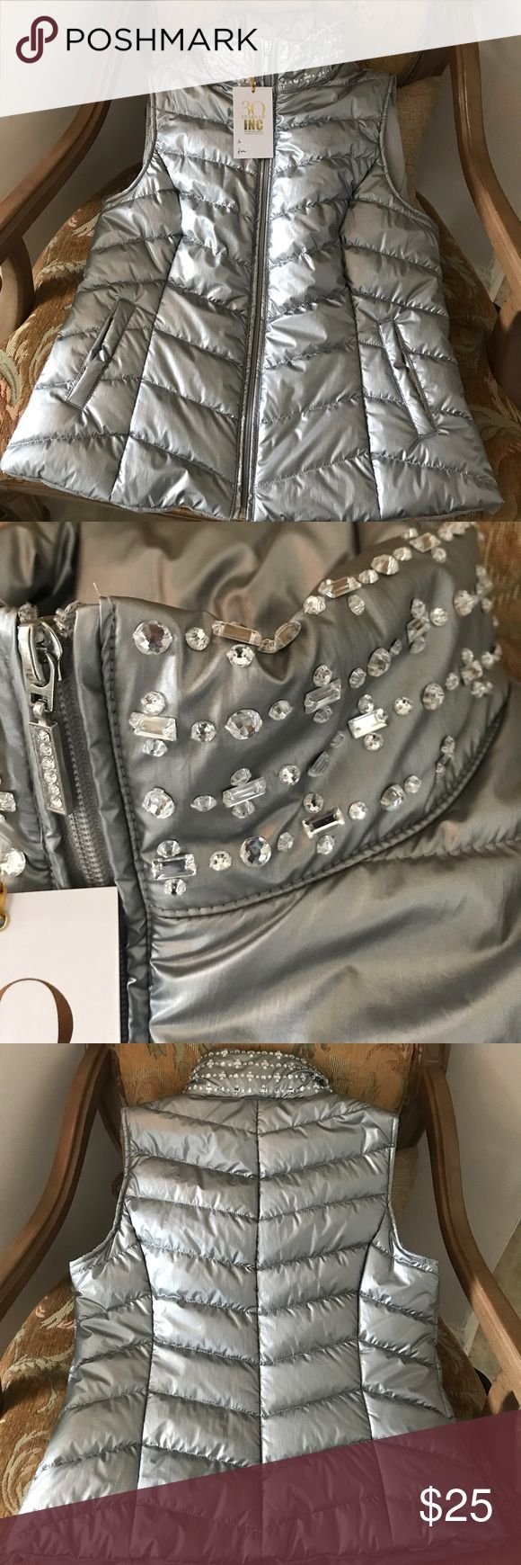 INC SILVER VEST Never worn. Tag still attached. INC International Concepts Jackets & Coats Vests
