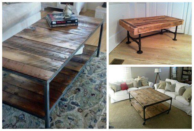 moebler og sofabord lavet af trae fra paller og genbrug og jern