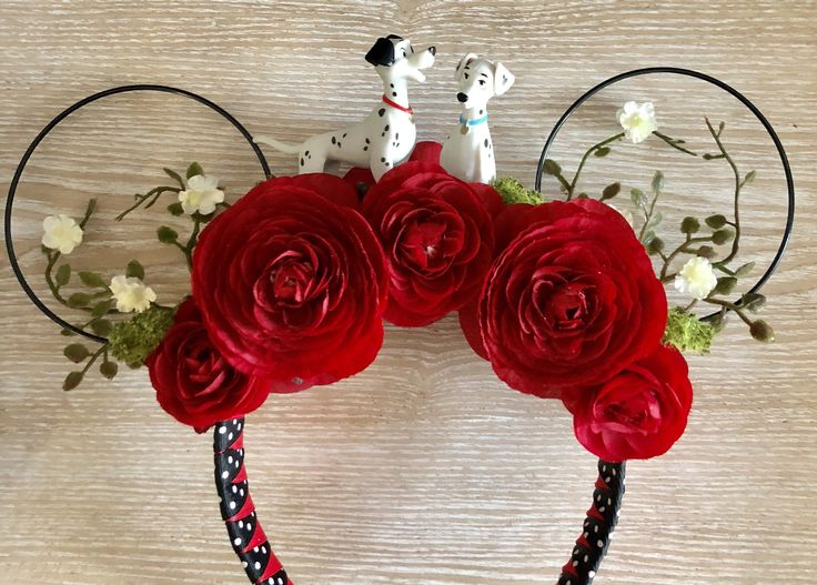 101 Dalmations Ears, Mickey Ears, Minnie Ears, Floral Ears, Mickey Mouse Ears by PoshParkCreative on Etsy https://www.etsy.com/listing/594629921/101-dalmations-ears-mickey-ears-minnie