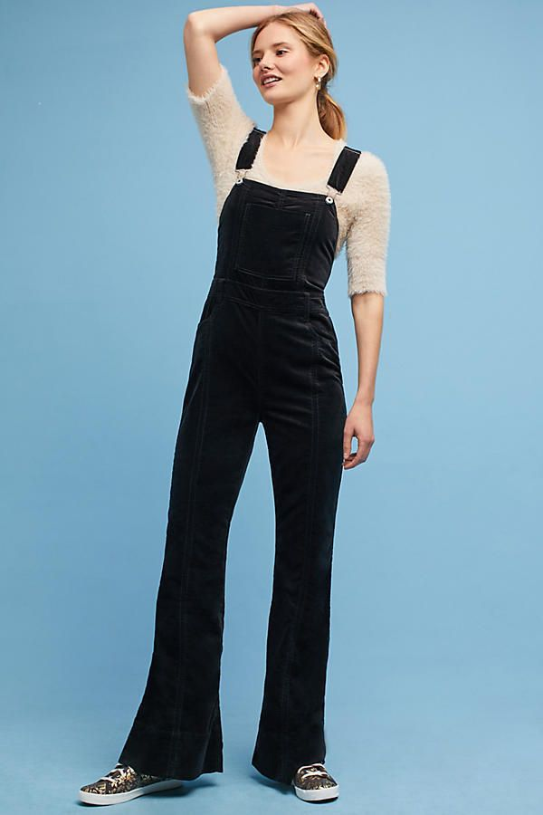 2522c32a4124 NWT Anthropologie Pilcro Black Velvet Flare High Rise Stretch Overalls  Jumpsuit