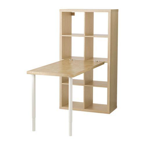 "KALLAX Workstation - birch effect, 30 3/8x57 7/8 "" - IKEA I'm liking this!  The storage stays put - but the desk folds away.  Hmmm...."