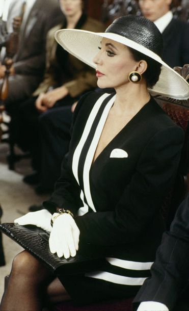 "Dynasty ""The Reunion"", 1991.  She slayed it so well in the previous fashion photo, this funeral scene is next.   Soooo classy!"