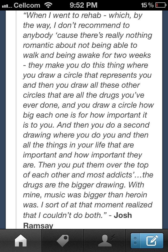 "And this ^^^ is why he is such a big inspiration to me <3 ""Music was bigger than heroin."""