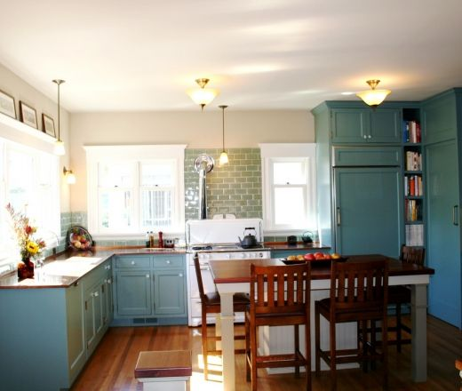 Teal cabinets, Cream kitchens and Architects on Pinterest