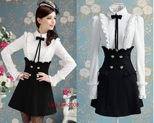 OL Japan Kawaii Fashion Dolly Sweet Cute Princess Women Black Lace Dress s XL | eBay
