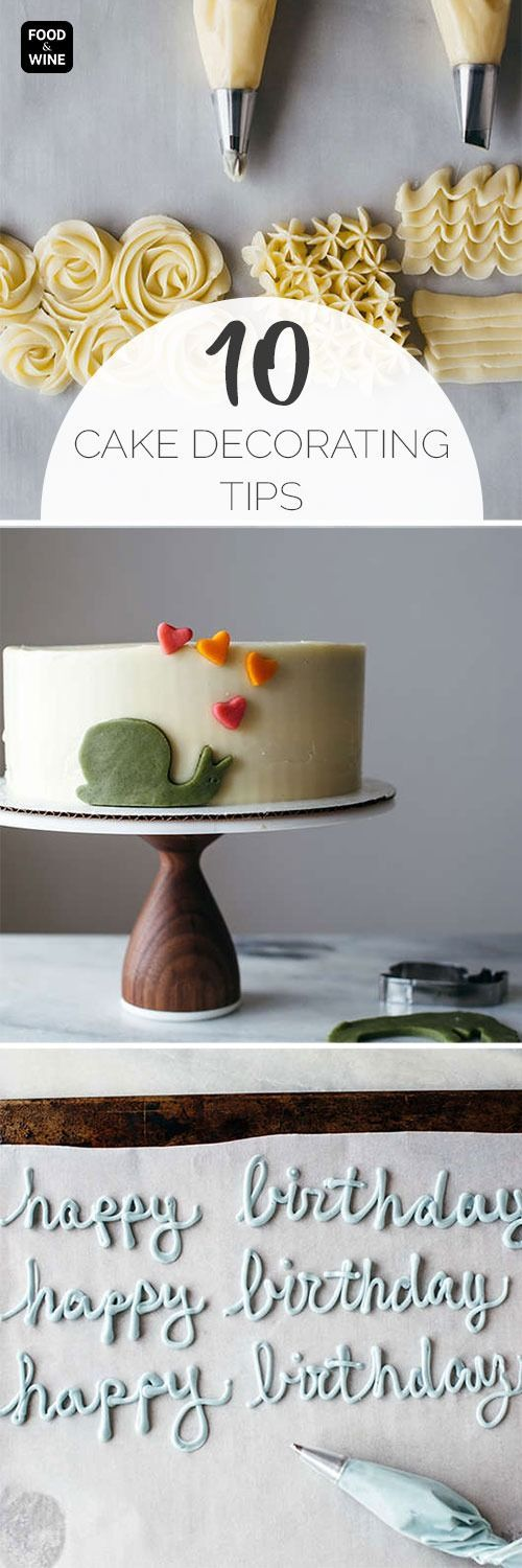 From piping techniques to the best method for writing on a cake, here are ten fantastic cake decorating tips. Basic tools for decorating a cake: turntable, cardboard cake board, offset spatula and bench scraper.—Molly Yeh #cakedecoratingtips