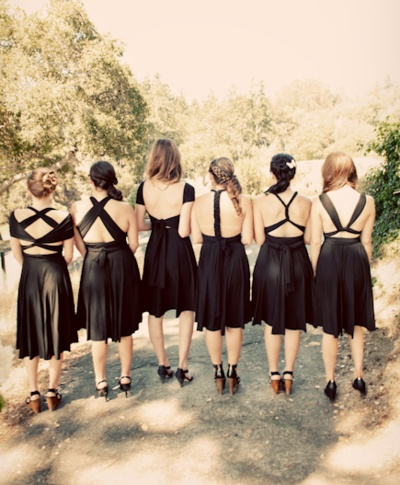 Two Birds bridesmaid dresses. You can wear them a million different ways.  design it to fit out own bodies?
