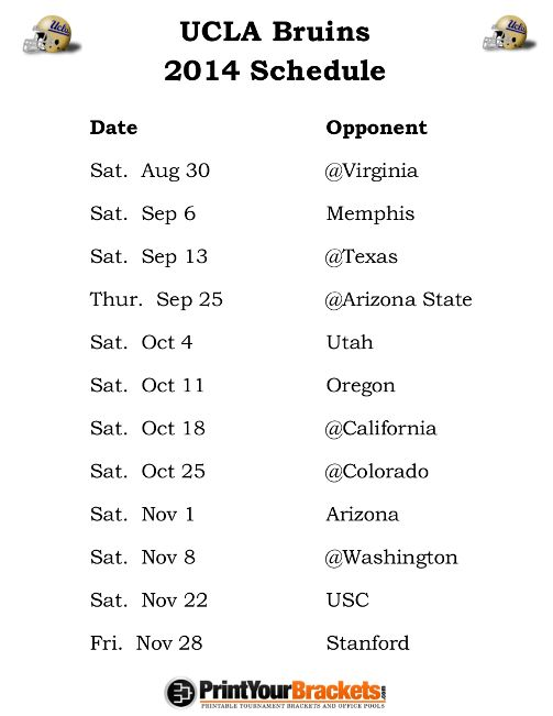 ucla college top 25 football schedule