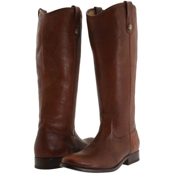 Frye Melissa Button Cowboy Boots, Brown ($245) ❤ liked on Polyvore featuring shoes, boots, brown, pull on boots, pull on leather boots, leather cowgirl boots, brown leather boots and slip on leather boots