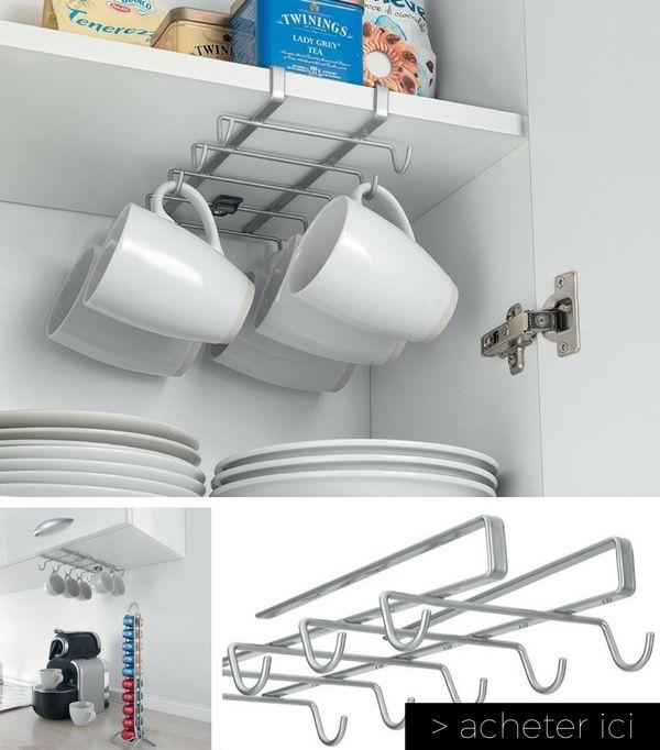 Rangement pour suspendre mugs et tasses petite cuisine    http://www.homelisty.com/objets-gain-de-place-petite-cuisine/