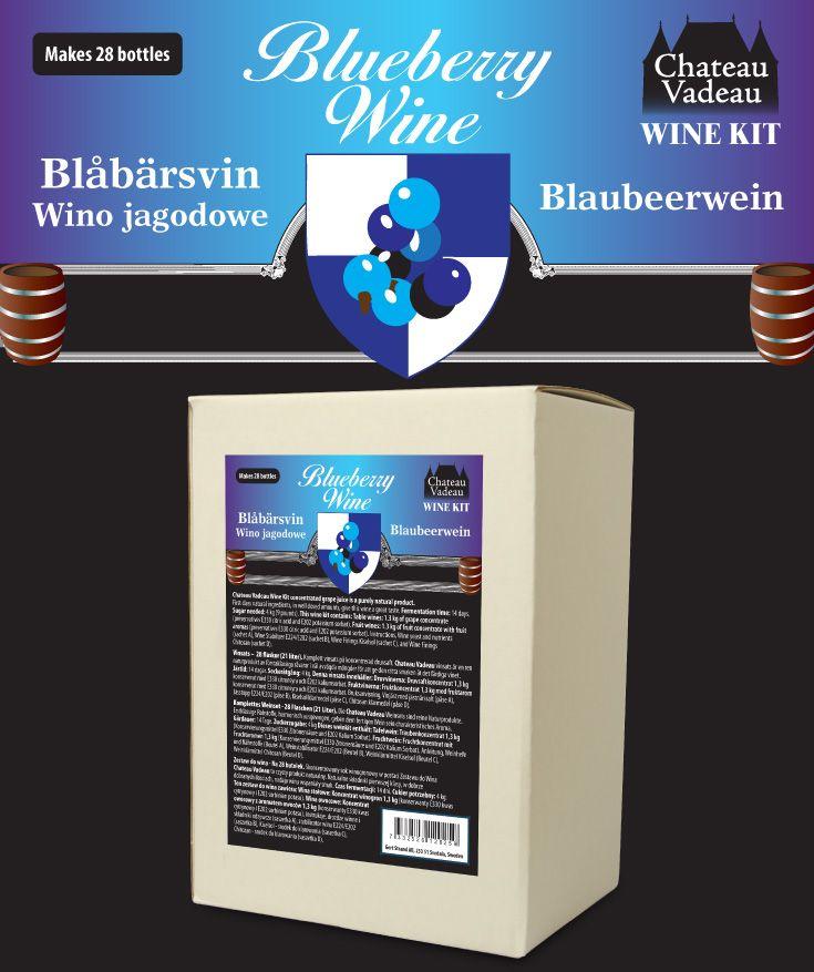Chateau Vadeau Blåbärsvin vinsats ger 21 liter - 28 flaskor a 75 cl - lättdrucket bordvin. Tillsätt vatten och 4 kg socker. Alla andra ingredienser medföljer.