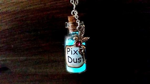 Glühend Feenstaub mit Birthstone, personalisierte Glühen in den dunklen Tinkerbell Halskette, magischen Feenstaub, Flasche Halskette, Pixie Dust Glitter
